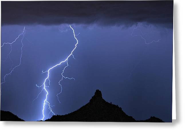 Pinnacle Peak Lightning  Greeting Card