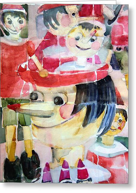 Pinocchios In The Window Reflections Greeting Card by Mindy Newman