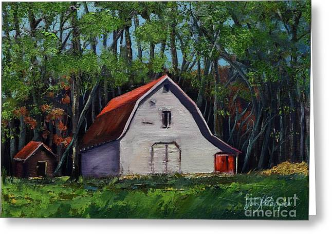 Greeting Card featuring the painting Pinson Barn At Harrison Park by Jan Dappen