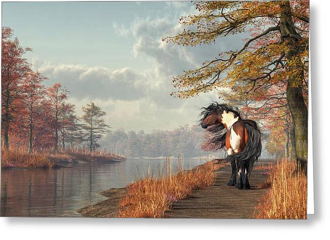 Greeting Card featuring the digital art Pinto Horse On A Riverside Trail by Daniel Eskridge