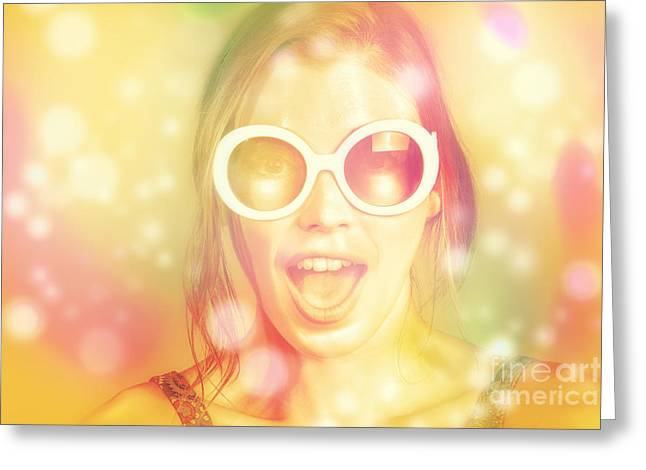 Pinup Beauty In Excited Fashion Abstract  Greeting Card by Jorgo Photography - Wall Art Gallery