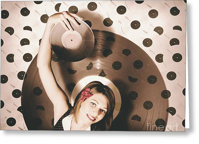 Pinup Dj Rocking Around The Clock  Greeting Card by Jorgo Photography - Wall Art Gallery