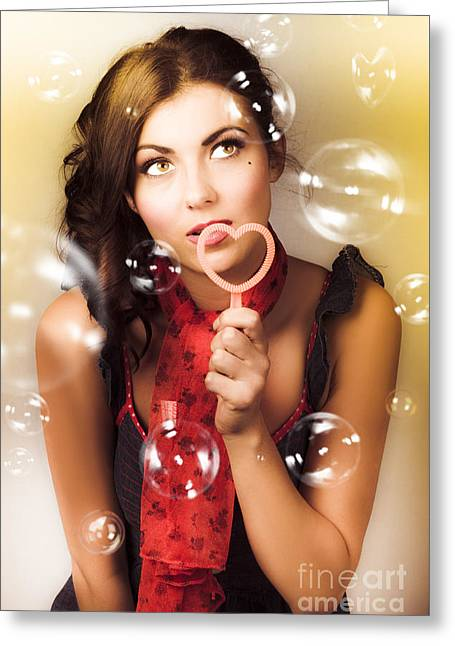 Pinup Girl Blowing Love Kiss. American Retro Style Greeting Card
