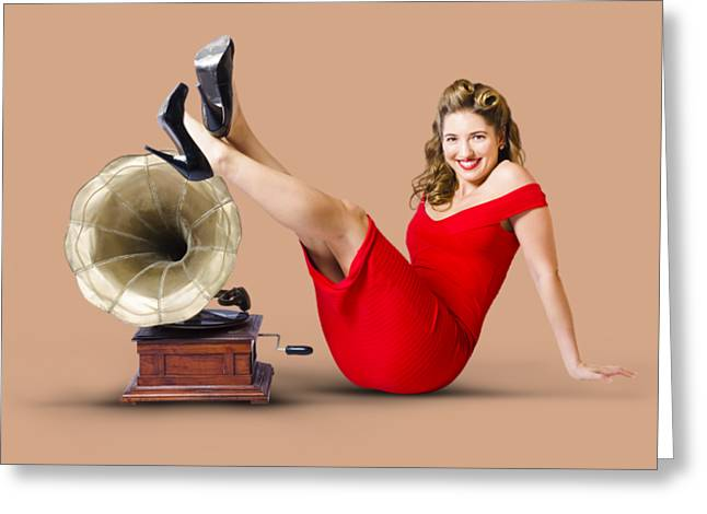 Pinup Girl In Red Dress Playing Classical Music Greeting Card