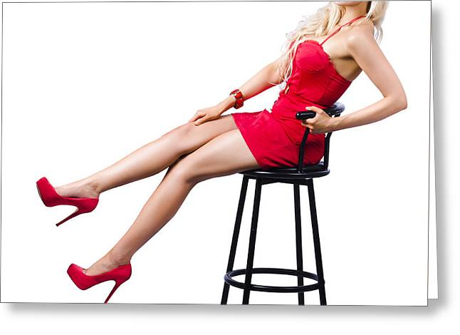 Pinup Girl Relaxing On A Bar Stool Greeting Card by Jorgo Photography - Wall Art Gallery