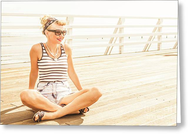 Pinup Pier Girls Day Out Greeting Card by Jorgo Photography - Wall Art Gallery