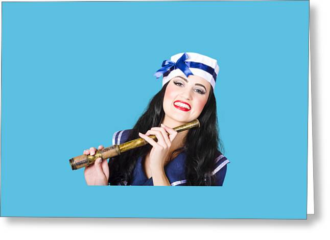 Pinup Sailor Girl Holding Telescope Greeting Card by Jorgo Photography - Wall Art Gallery