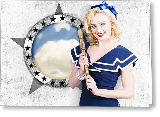 Pinup Travel Cruise. Seafaring Girl With Telescope Greeting Card by Jorgo Photography - Wall Art Gallery