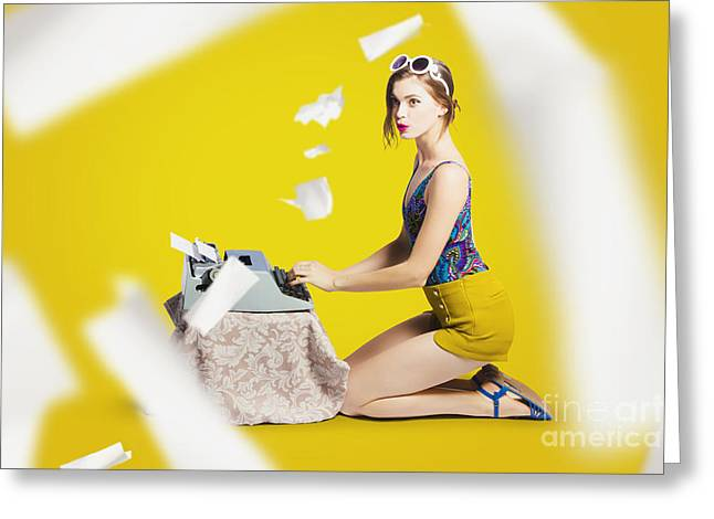 Pinup Typist Writing Story On Typewriter Greeting Card by Jorgo Photography - Wall Art Gallery