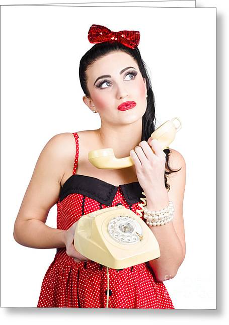 Pinup Woman Chatting On Yellow Telephone Greeting Card by Jorgo Photography - Wall Art Gallery