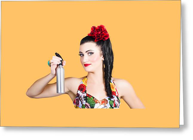 Pinup Woman Holding A Cleaning Spray Bottle Greeting Card by Jorgo Photography - Wall Art Gallery