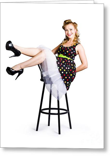 Pinup Woman On Bar Stool Greeting Card by Jorgo Photography - Wall Art Gallery