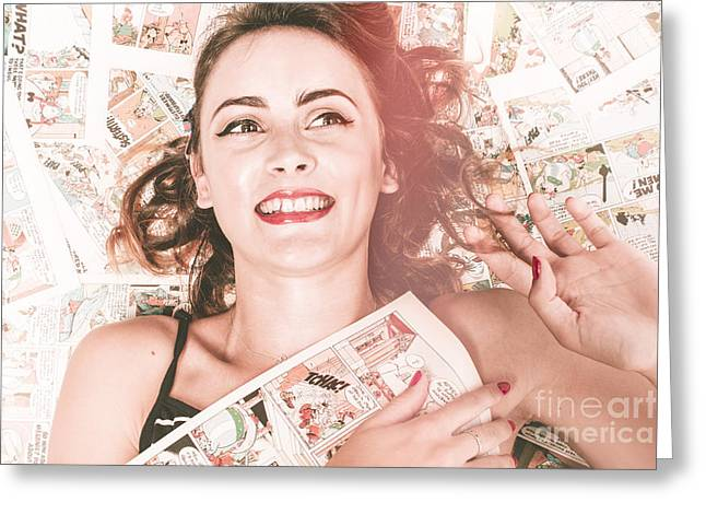 Pinup Woman With Cartoon Character Love Greeting Card by Jorgo Photography - Wall Art Gallery