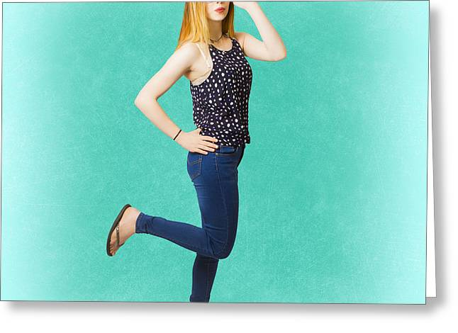 Pinup Women In Blue Jeans Greeting Card by Jorgo Photography - Wall Art Gallery