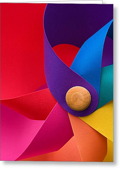 Pinwheel Macro Abstract In Neon Colors Greeting Card
