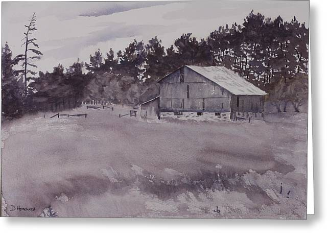 Pioneer Barn Greeting Card by Debbie Homewood