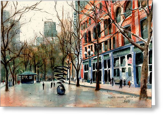 Greeting Card featuring the painting Pioneer Square by Marti Green