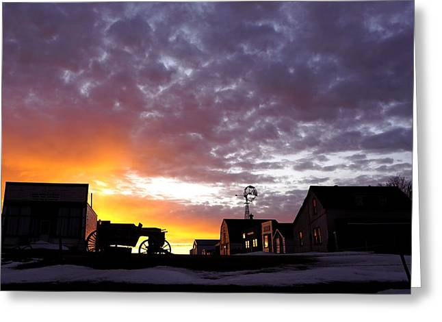 Pioneer Town Sunset Greeting Card