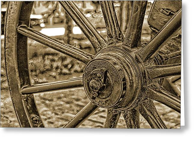 Greeting Card featuring the photograph Pioneer Wagon Wheel by Marie Leslie