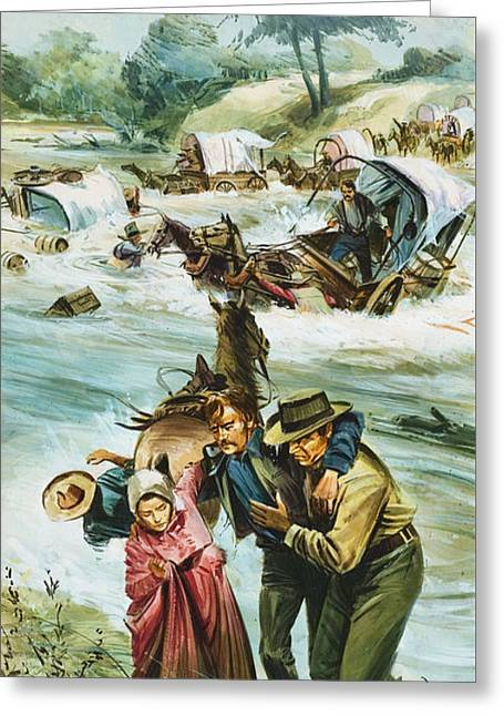 Pioneers Crossing The Untamed Arkansas River In The Early 1880s Greeting Card