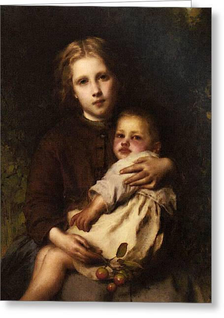 Piot Adolphe Sisterly Love Greeting Card by Etienne Adolphe Piot