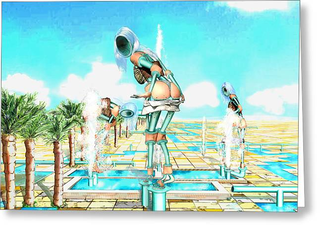Pipe Human Figures Creating On Oasis Number One Greeting Card by Leo Malboeuf