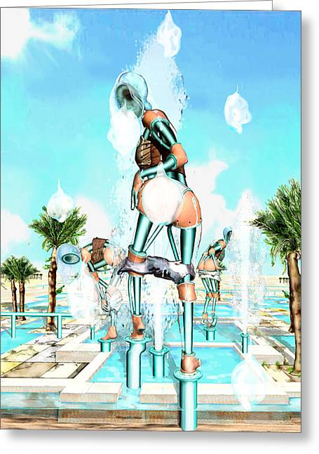 Pipe Human Figures Creating On Oasis Number Two Greeting Card by Leo Malboeuf