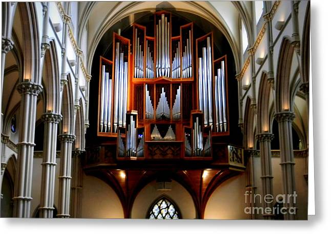 Pipe Organ, St. Paul's Cathedral, Pittsburgh, Pa  Greeting Card by Len-Stanley Yesh