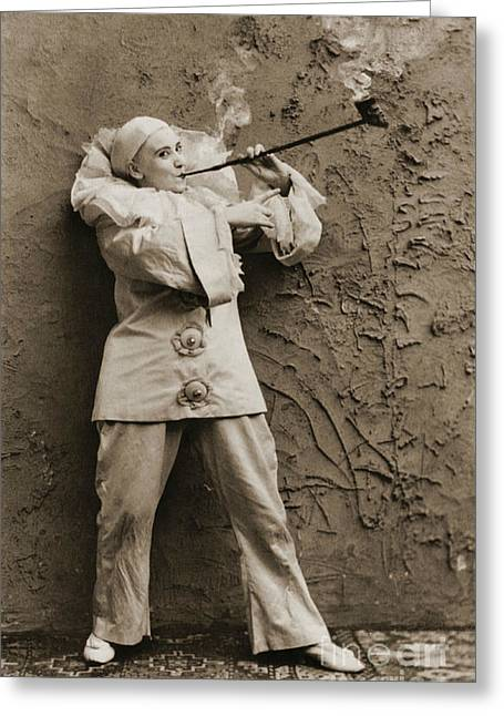Pipe Smoking Mime 1895 Greeting Card