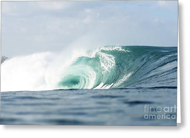 Pipeline Turquoise Wave Greeting Card by Vince Cavataio - Printscapes