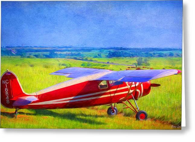 Piper Cub Airplane In Kansas Prairie Greeting Card