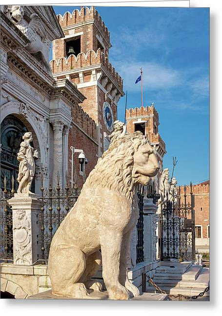 Greeting Card featuring the photograph Piraeus Lion by Fabrizio Troiani