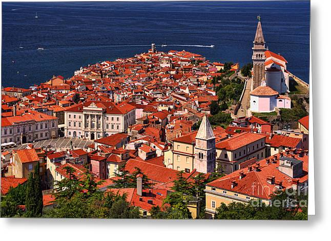 Piran From The Castle Wall Greeting Card