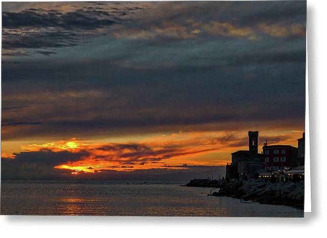 Greeting Card featuring the photograph Piran Slovenia Sunset #2 by Stuart Litoff