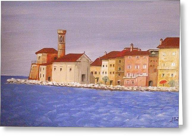 Piran The Lighthouse Greeting Card by Anthony Meton