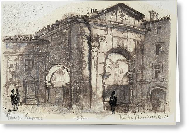 Piranesi Paraphrase No. 58, Internal View Of The Atrium Of The Portico Of Octavia Greeting Card by Martin Stankewitz
