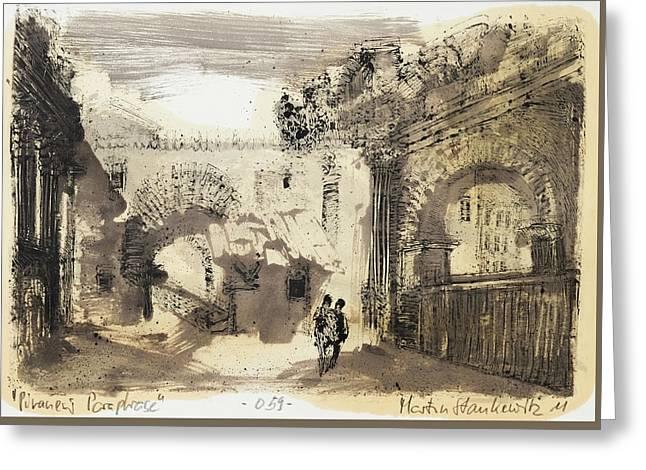 Piranesi Paraphrase No. 59, Internal View Of The Atrium Of The Portico Of Octavia Greeting Card by Martin Stankewitz