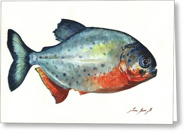 Piranha Fish Greeting Card by Juan Bosco