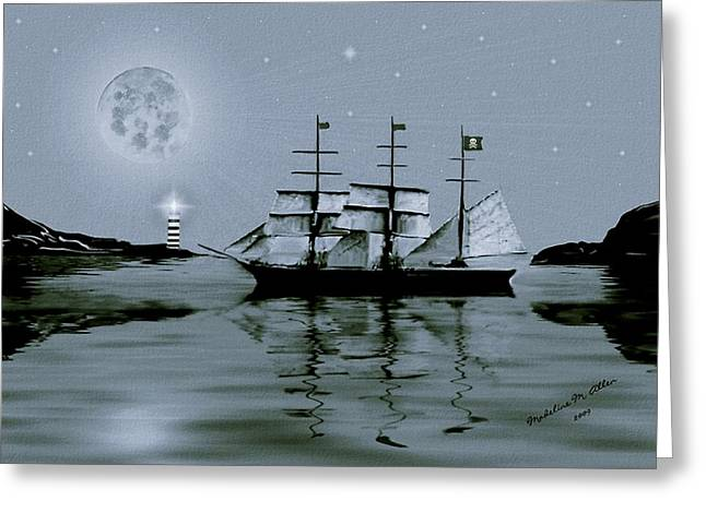 Pirate Cove By Night Greeting Card