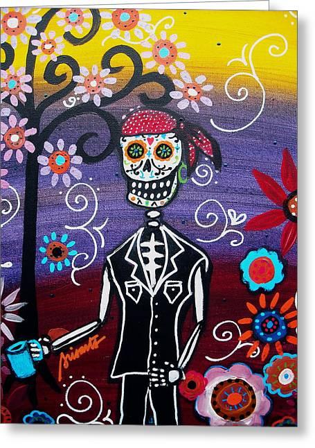 Pirate Dia De Los Muertos Greeting Card by Pristine Cartera Turkus