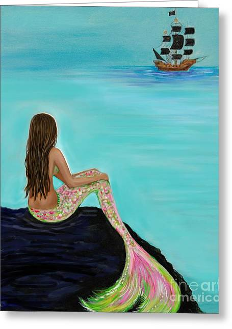 Pirate Farewell Greeting Card by Leslie Allen