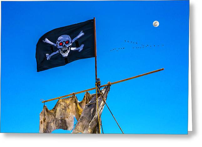 Pirate Flag And Moon Greeting Card by Garry Gay