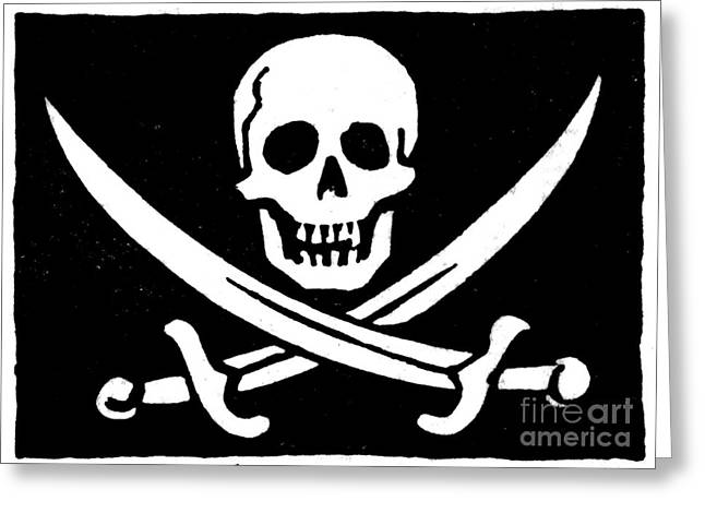18th Century Greeting Cards - Pirate Flag Greeting Card by Granger