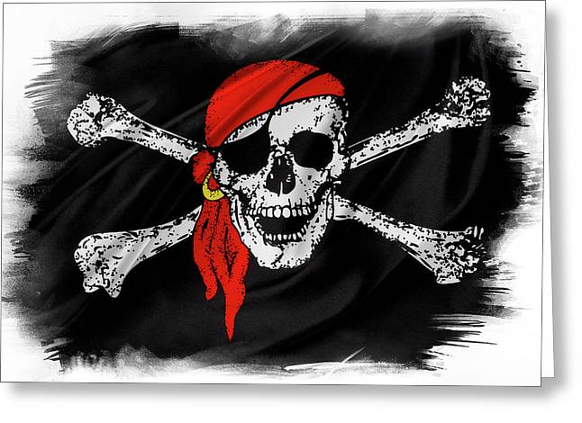 Pirate Flag Greeting Card by Les Cunliffe