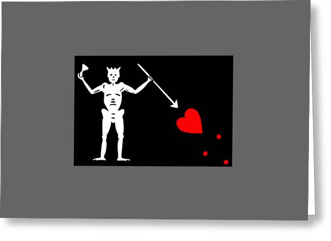 Pirate Flag Of Blackbeard Greeting Card by Frederick Holiday