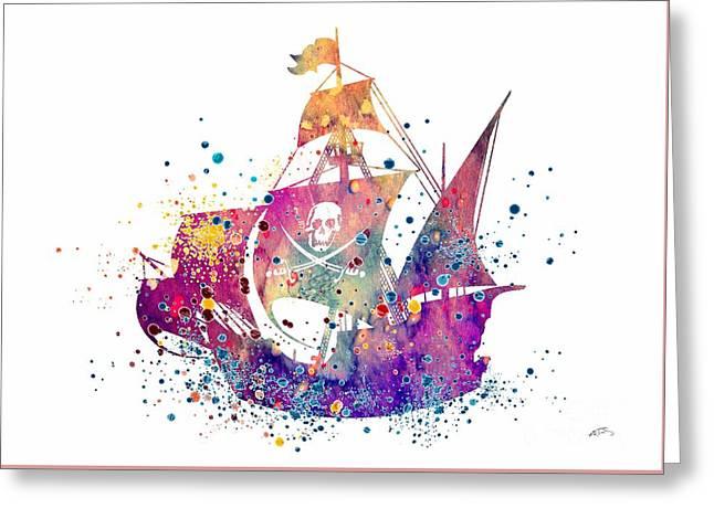 Pirate Ship 2 Watercolor Greeting Card by Svetla Tancheva