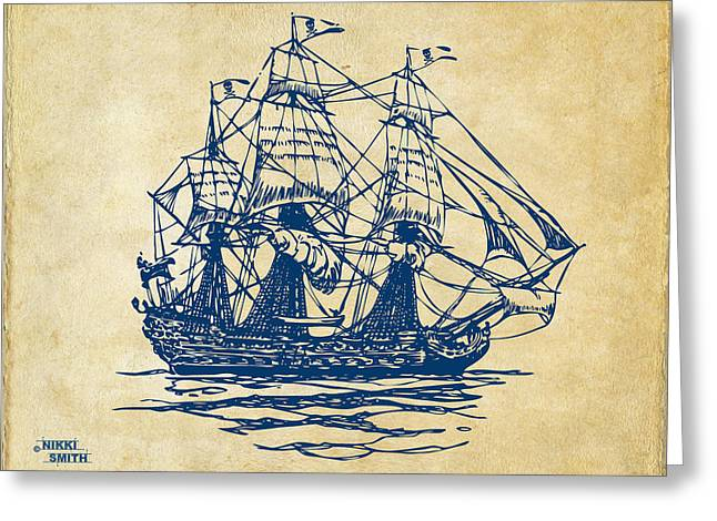 Treasures Drawings Greeting Cards - Pirate Ship Artwork - Vintage Greeting Card by Nikki Marie Smith
