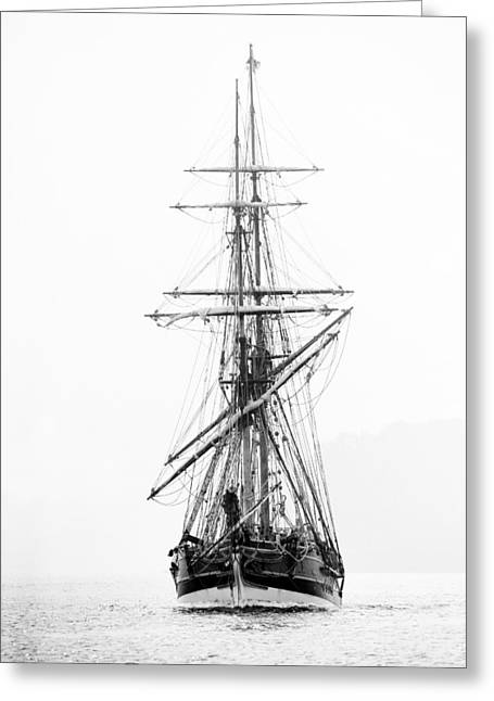 Pirate Ship Black And White Greeting Card