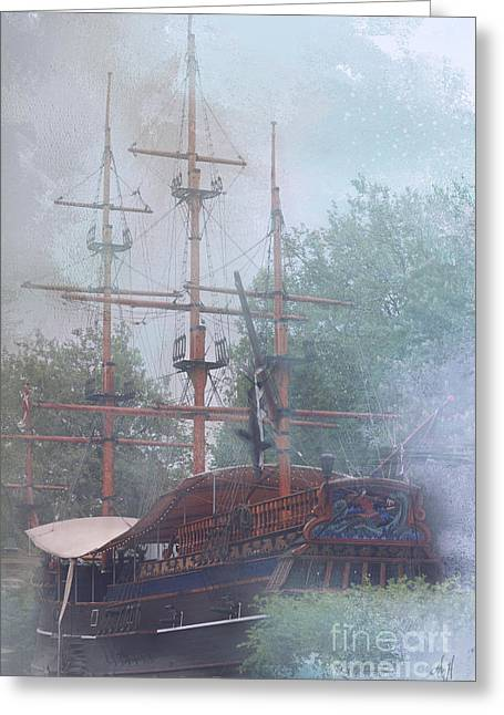 Pirate Ship Hiding In Cove Greeting Card