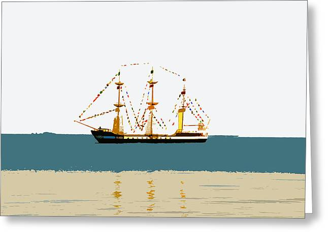 Pirate Ship On The Horizon Greeting Card by David Lee Thompson